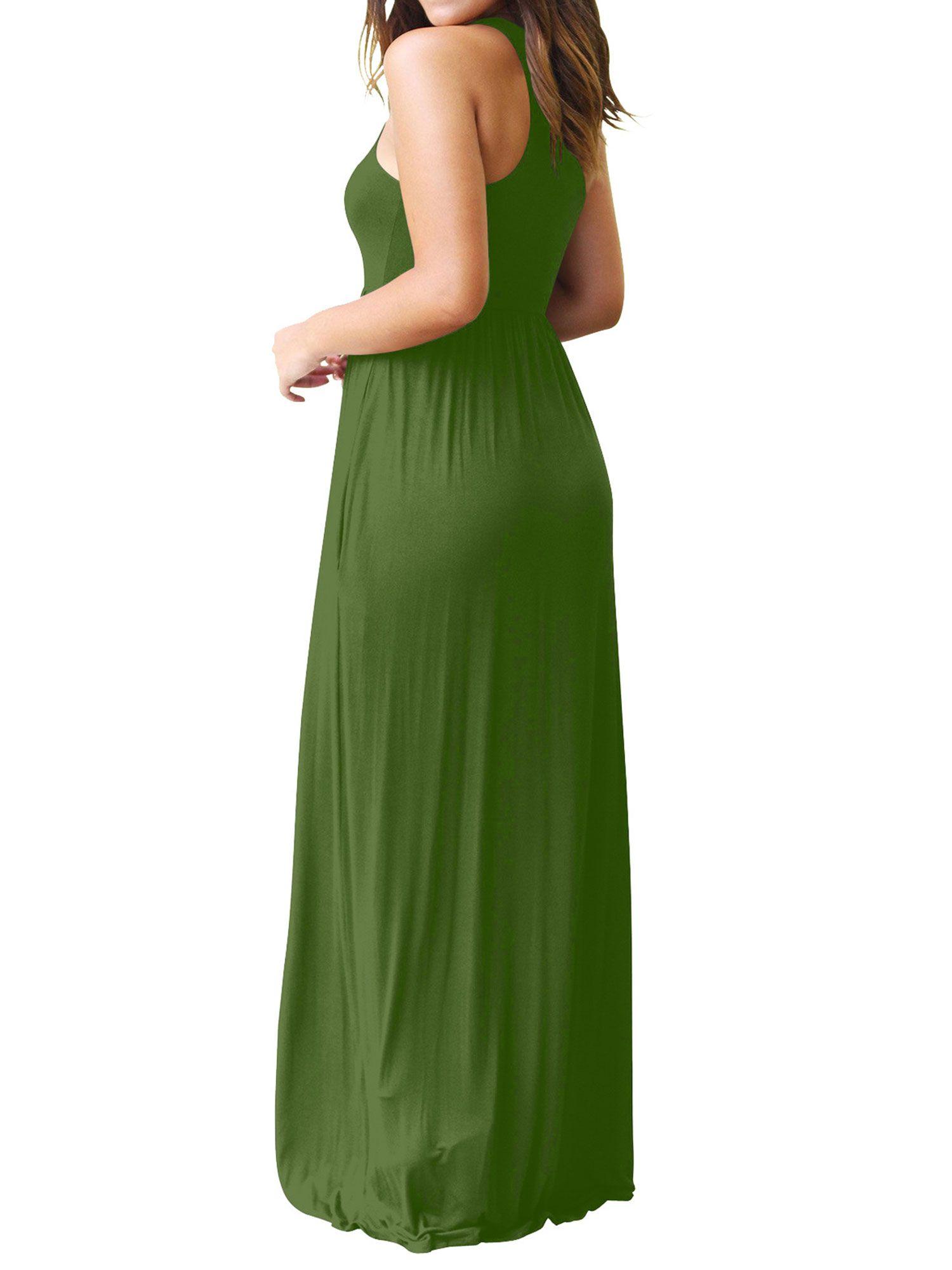 Zxzy Women Round Neck Sleeveless Pure Color Long Dress With Pocket Walmart Com Maxi Dresses Casual Maxi Tank Dress Long Dress Casual [ 2000 x 1500 Pixel ]