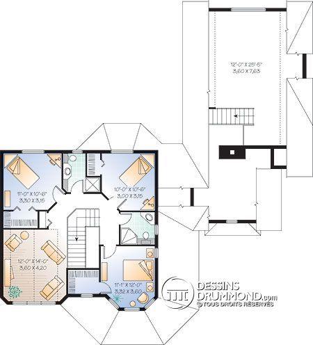 Détail du plan de Maison unifamiliale W2898 plan maison - image de plan de maison