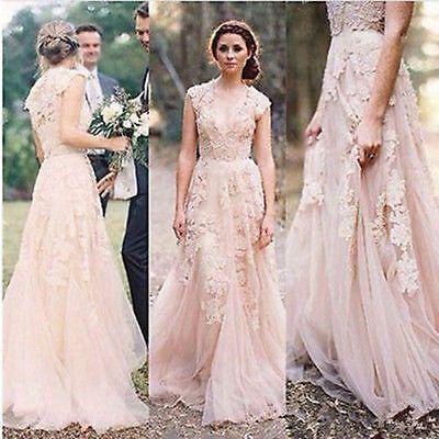 Vintage Lace Wedding Dresses Cap Sleeve Bridal Gowns Size 2 4 6 8 10 ...