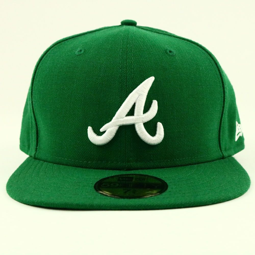 Atlanta Braves Green 59fifty Hat 7 3 4 Cap Mlb New Era Fitted Wool Baseball Newera Atlantabraves 59fifty Hats New Era Fitted Hats
