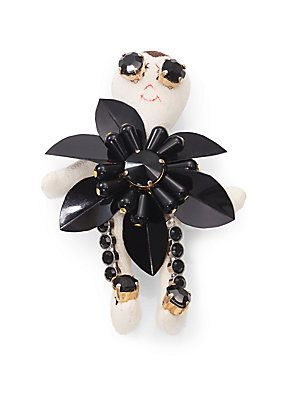 "Marni Rhinestone-Detailed Doll Brooch. Canvas doll, plastic petals and rhinestones. Size: approx. 3 3/4"" Pin back. Made in Italy."