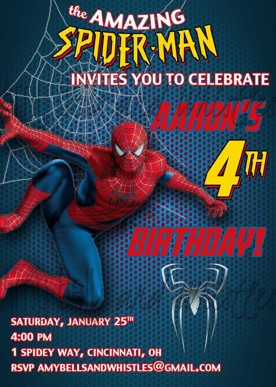 spiderman birthday invitation custom