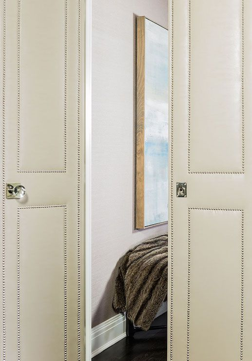 Cream Leather Upholstered Bi Fold Doors With Silver Nailhead Trim | Terrant  Elms Interior Design