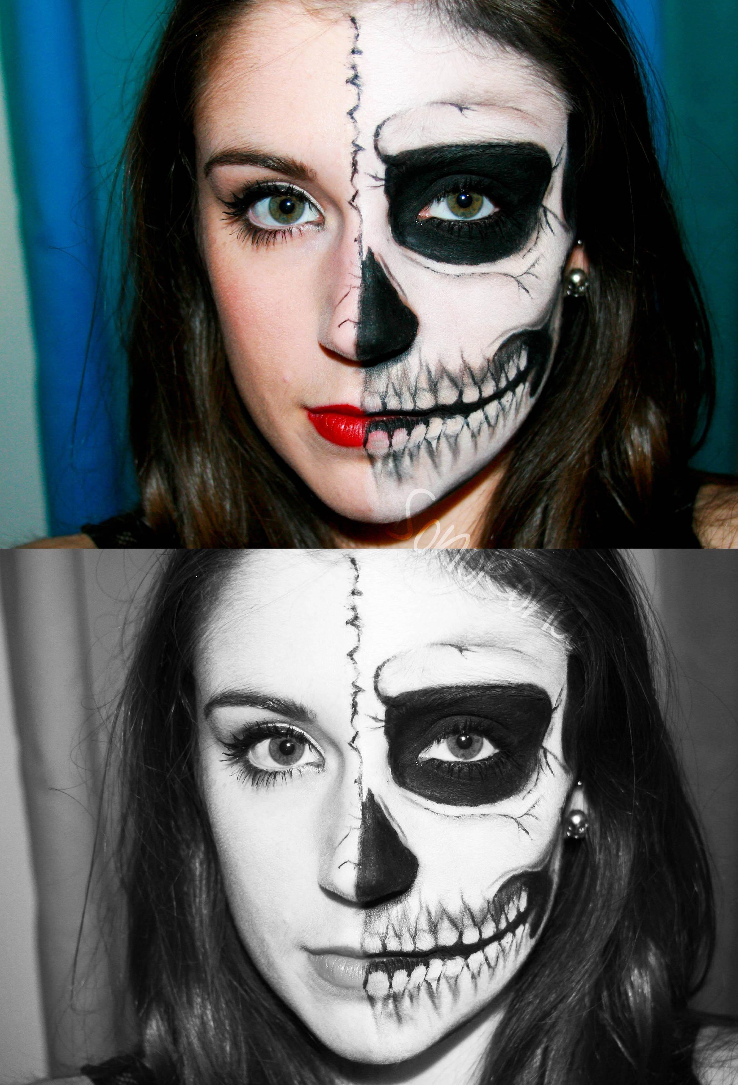 Mitad Cara Calavera Maquillaje Calavera Caras Maquillaje De Halloween