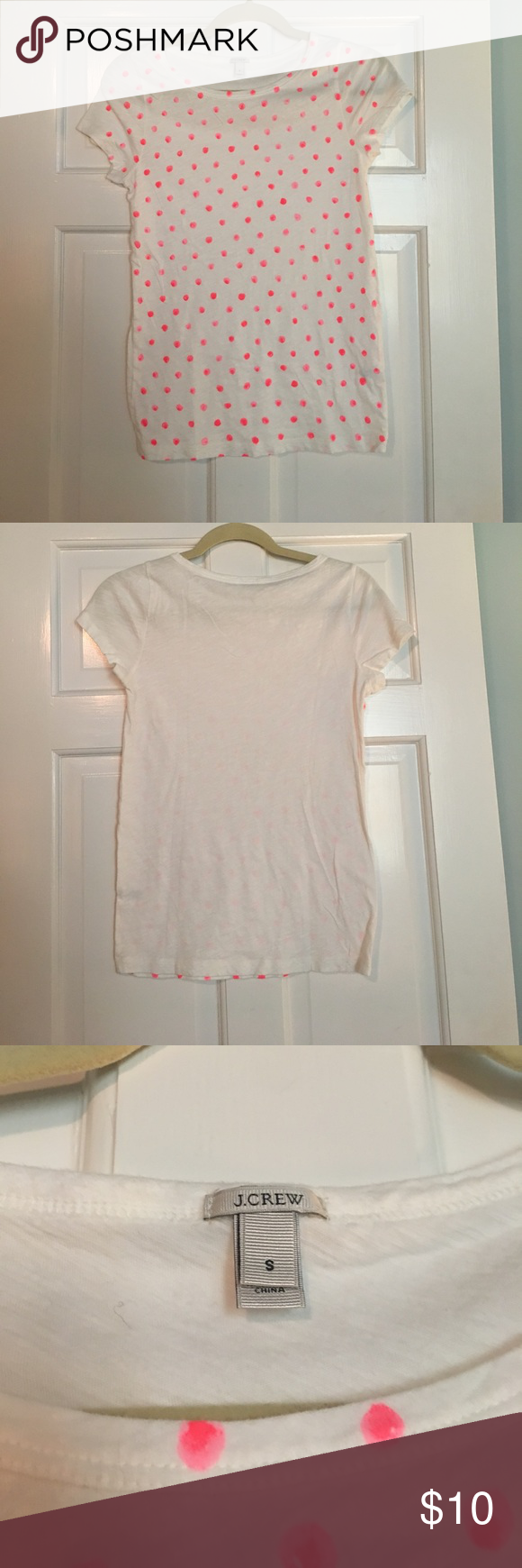 💕J. Crew Neon Pink Polka Dot Top💕 Worn twice!! Very comfortable and perfect for a casual look! No polkadots on back of shirt. Fabulous condition!! J. Crew Tops Tees - Short Sleeve