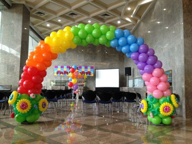 estupendo arco de globos de colores tortas Pinterest