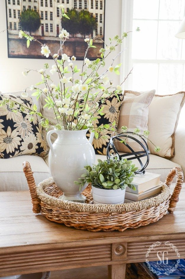 Spring decorating after easter stonegable everything - Center table decoration ideas in living room ...