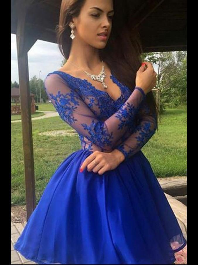 53dbe905e0f Discount Vogue Wedding Dresses Lace Long Sleeves Royal Blue Lace See  Through Homecoming Dresses Short Prom Dress Party Gowns