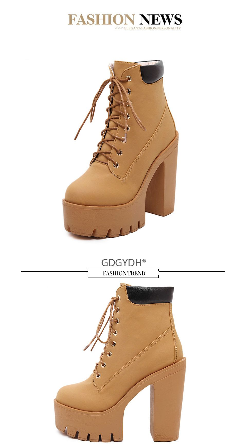 Spring Autumn High Heels Women Platform Ankle Boots Pumps