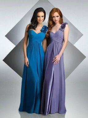 aline one shoulder floor length chiffon bridesmaids dress