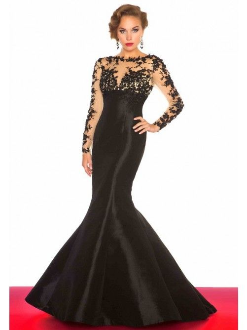 Trumpet/Mermaid Bateau Lace Long Sleeves Floor-Length Taffeta Prom ...