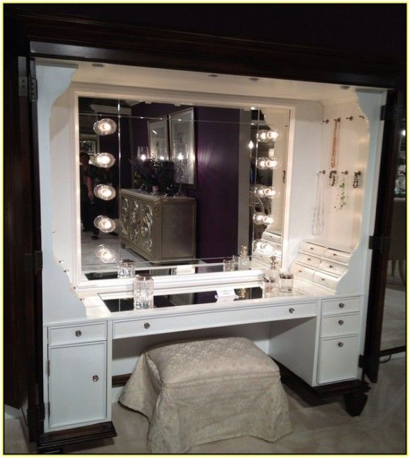 Attirant Furniture: Hollywood Style Dressing Table Mirror With Lights And White  Stool And The Cream Color Floor And Pictures With Cabinet And Purple Wall ~  Vanity ...