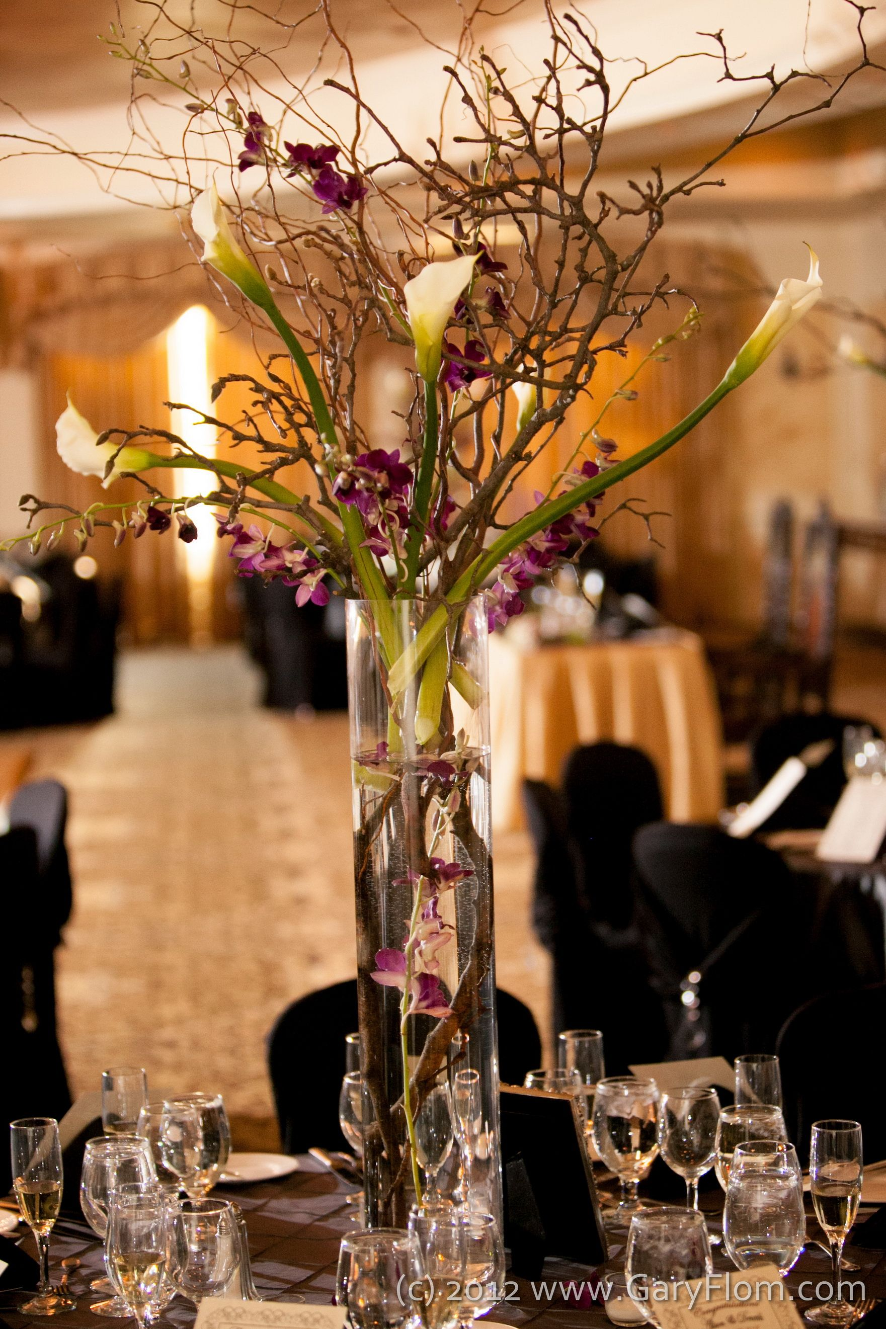 Centerpieces ft tall magnolia branches curly willow