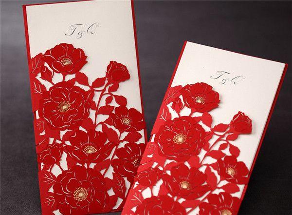 Romantisch Hochzeit Rot Einladungskarten Spitze Elegante Einladungskarten  Hochzeit 2014 / 2015 Bei Optimalkarten.de