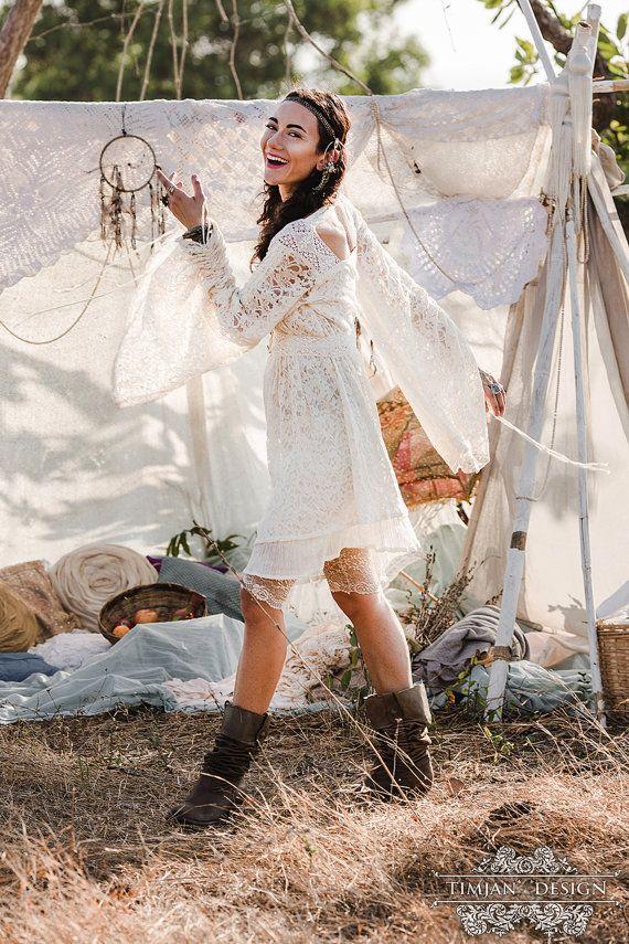 EMPRESS BOHEMIAN DRESS - Lace Hippie Boho Wedding Bride Romantic ...