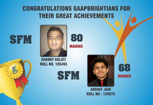 | Congratulation #Gaap #Brightians |  #SFM #Scorers  Shanky Gulati - 80 Marks Akshat Jain - 68 Marks