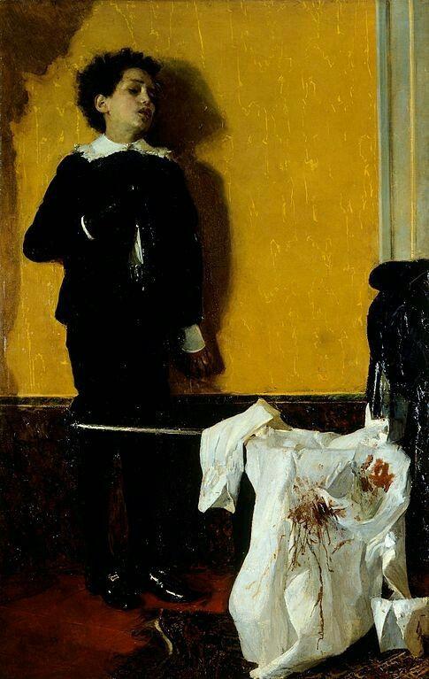 Antonio Mancini (Italian, 1852-1930),Dopo il duello[After the Duel], 1872. Oil on canvas,Galleria d'Arte Moderna, Torino, Italy.