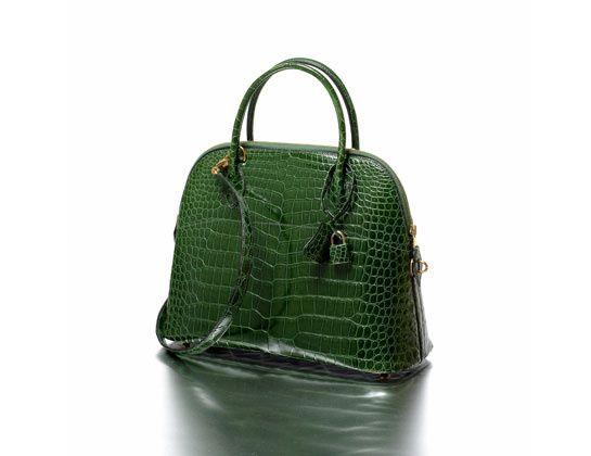 "Hermès Paris made in France ""Bolide"" bag 31 cm, in emerald green crocodile skin, year: 1995. Estimated value: €12,000- €15,000."
