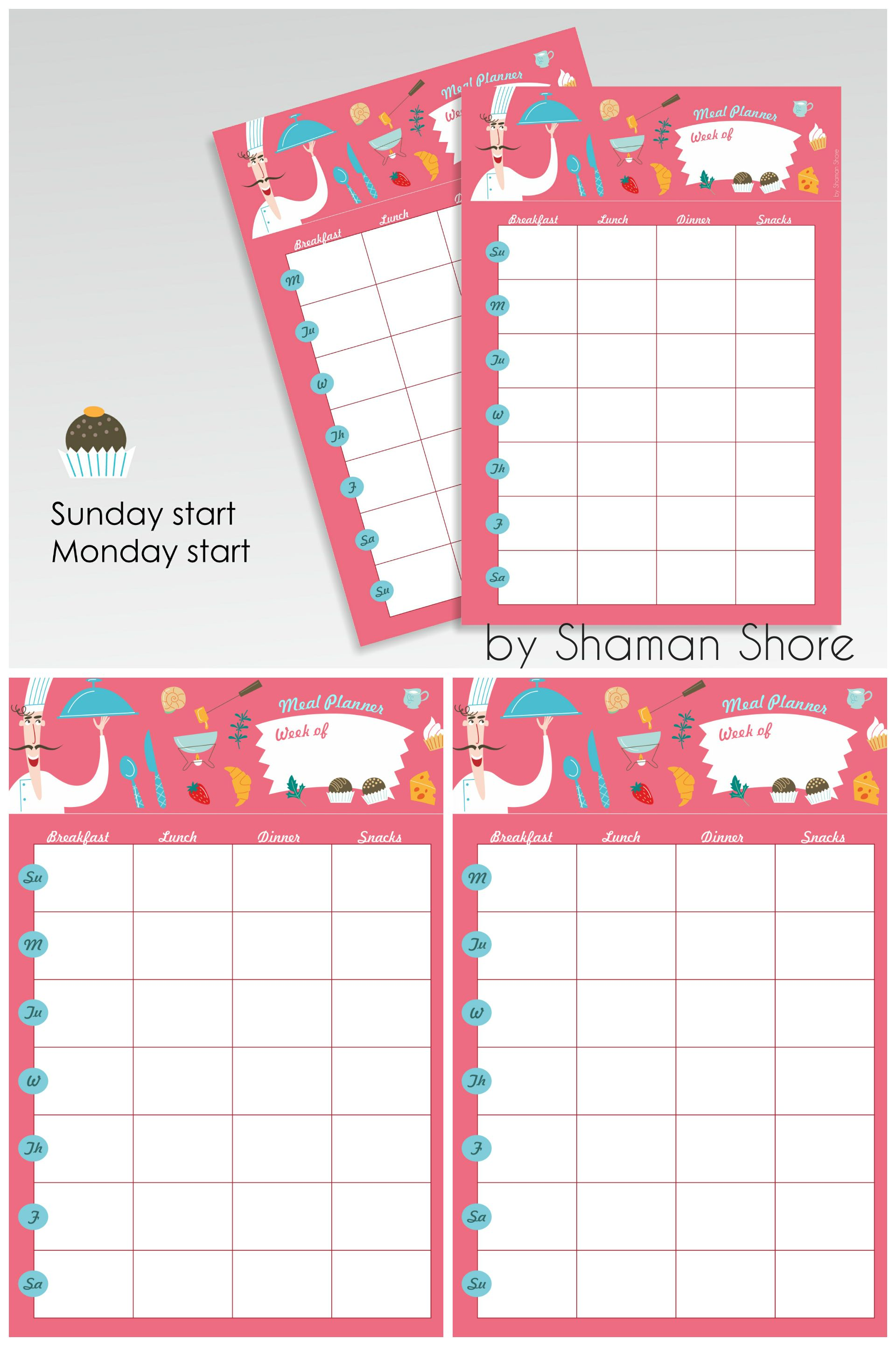 printable meal planner weekly, printable meal plan calendar, menu