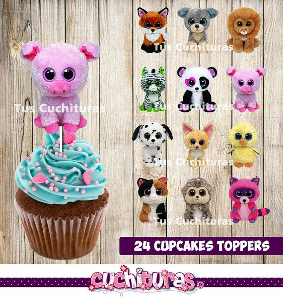 24 Beanie Boo Cupcakes Toppers instant download by ...
