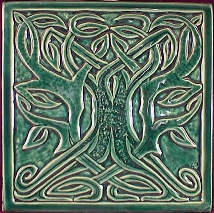 celtic tree of life tile decorative relief carved celtic tree ceramic art by earthsongtiles - Decorative Ceramic Tile
