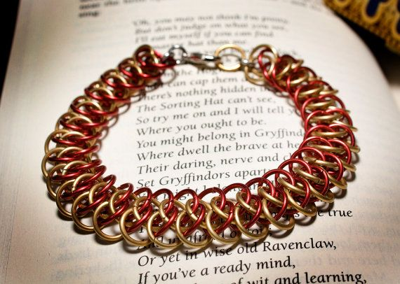 Hogwarts Collection  Arkham Chainmaille Bracelet  Gryffindor by HowlOwl. Harry Potter