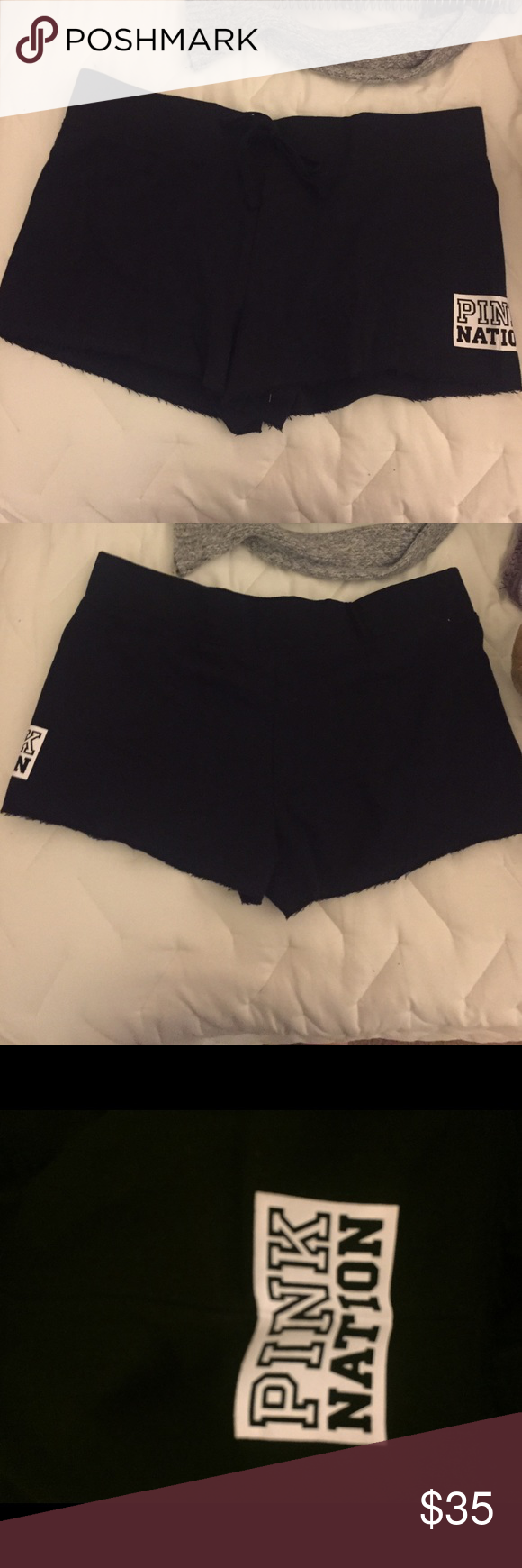 Pink Victoria's Secret black shorts New never worn. Open to offers not looking to trade. Size M color black. On the side it say Pink Nation. PINK Victoria's Secret Shorts