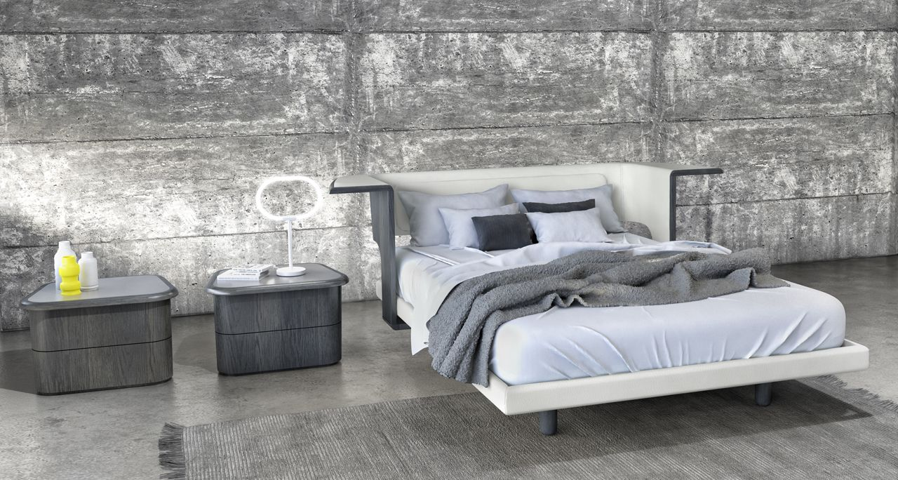 Huppé brought on Karim Rashid to create a modern bedroom collection out of leather, wood, and glass that's full of unexpected, sleek curves.
