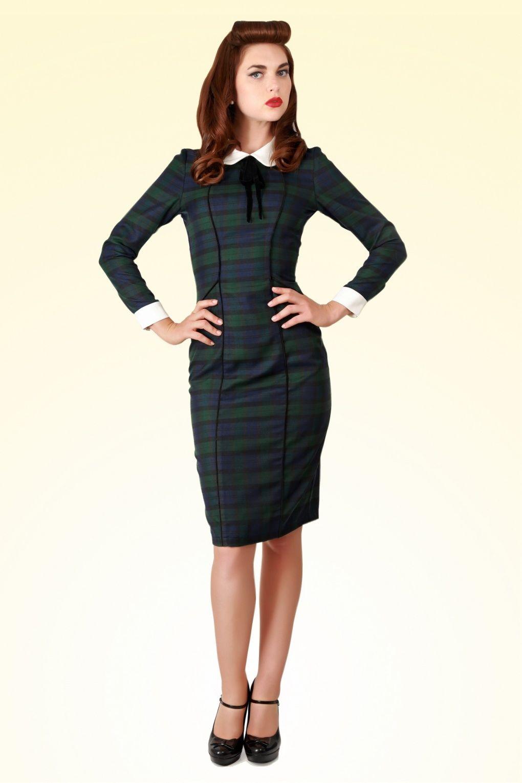 0dc82b9bc1bf 40s Lisa Retro Blackwatch Check Pencil Dress | Unique ~ Vintage ...