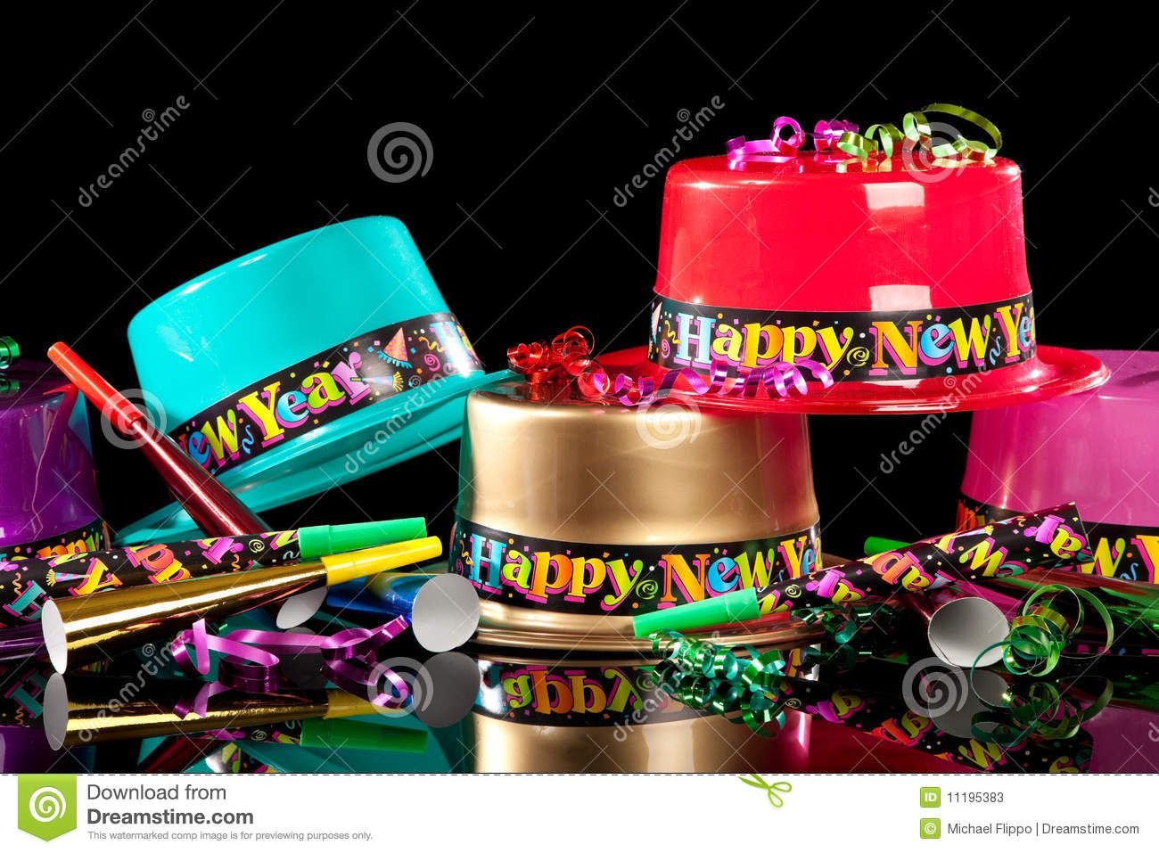 Photo about Colorful New Years' Eve party hats on a black