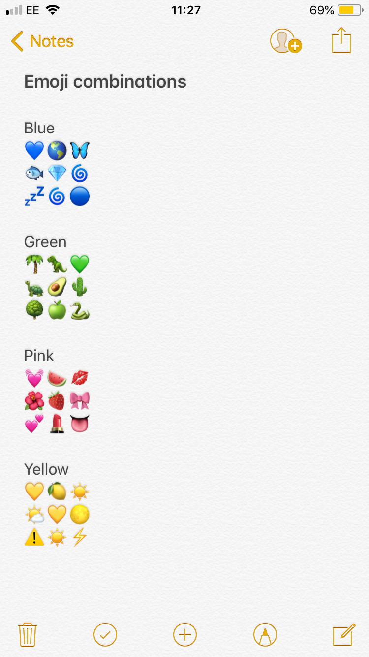 snapchat lifehack emoji combinaisons color art