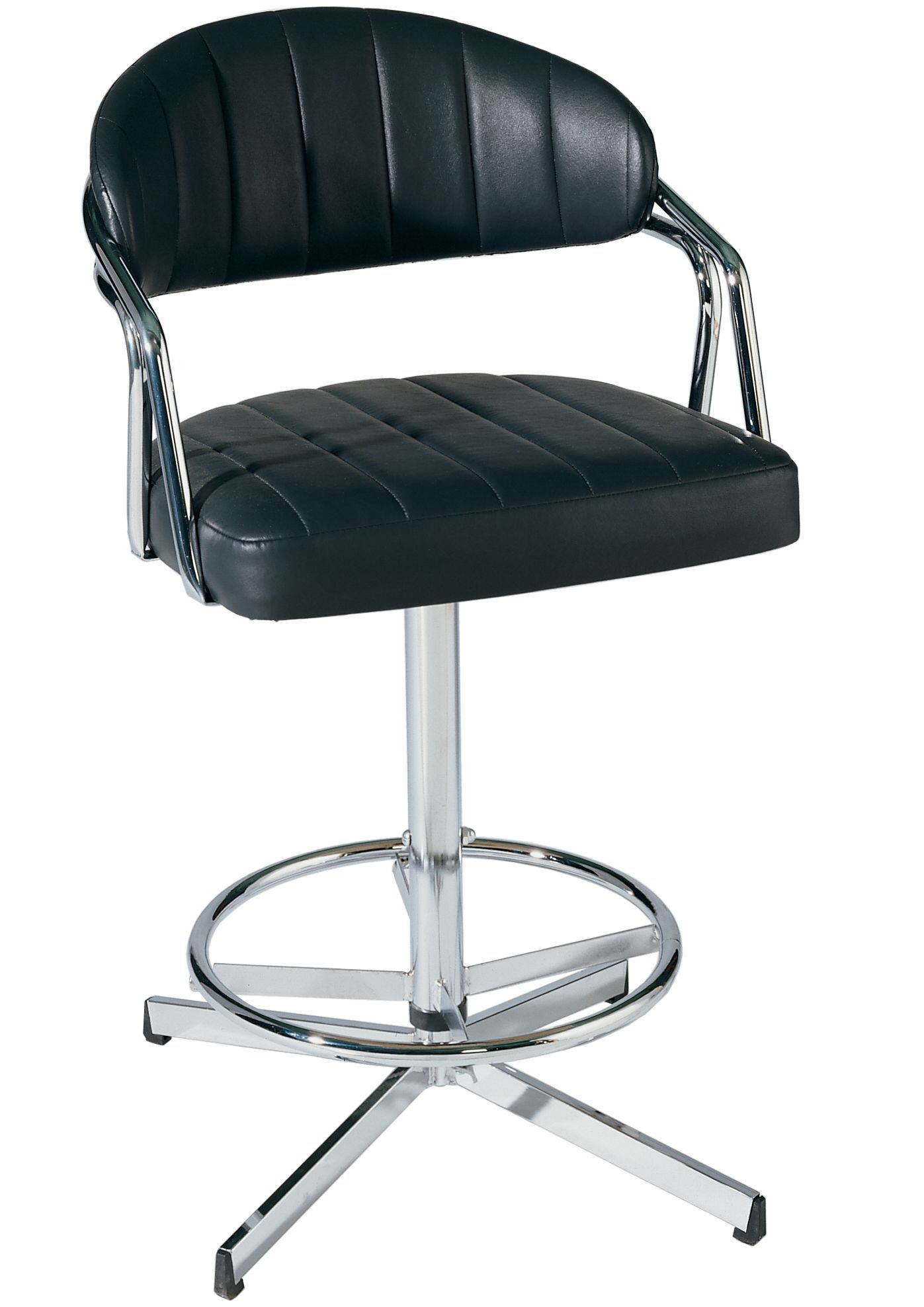 Furniture Black Vinyl Upholstered Swivel Chair With Rounded Chrome