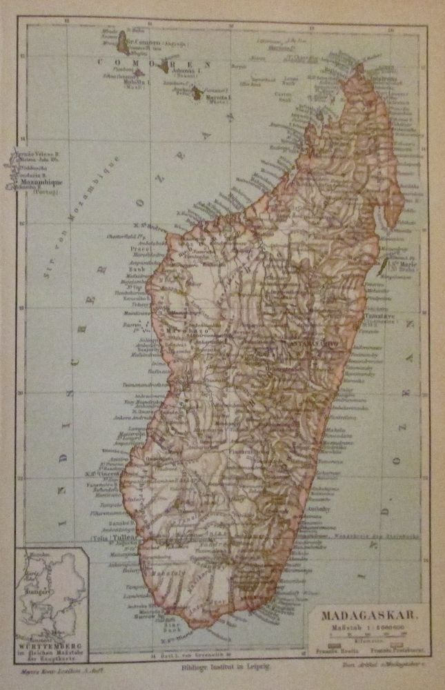 1896 Madagaskar Afrika Alte Landkarte Karte Antique Map