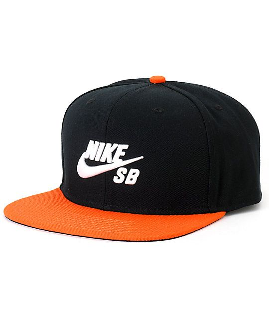 b952da0a684 Get a new iconic look with a white Nike SB Swoosh raised embroidery on a  black crown with a contrasting orange bill.