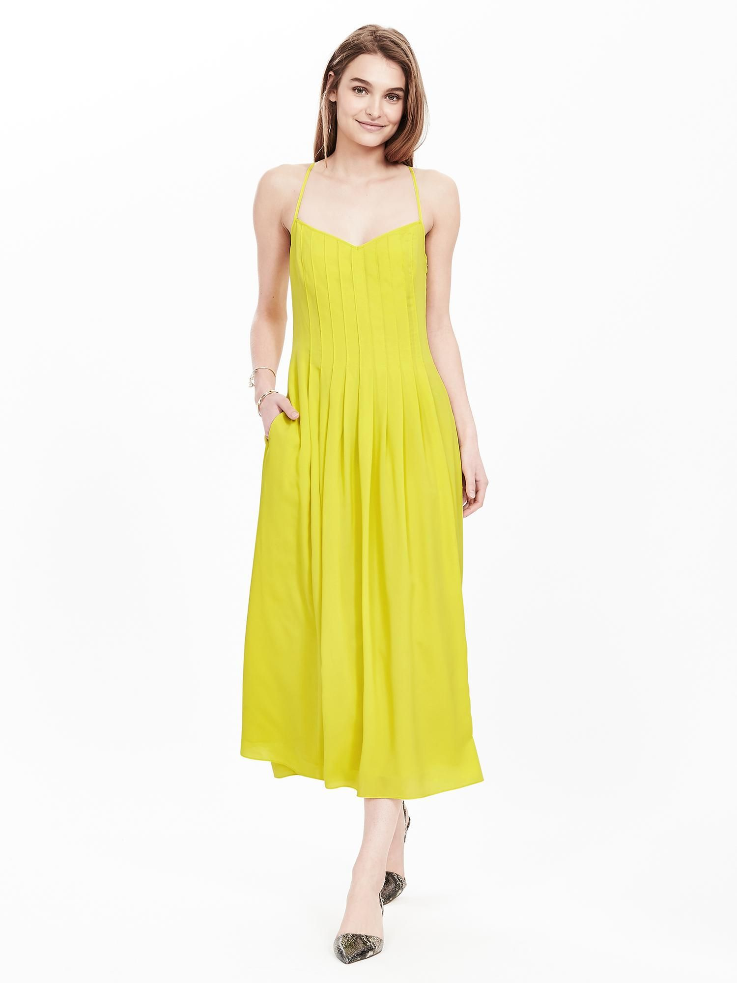 36cb6cf9627 Pleated Strappy Maxi Dress