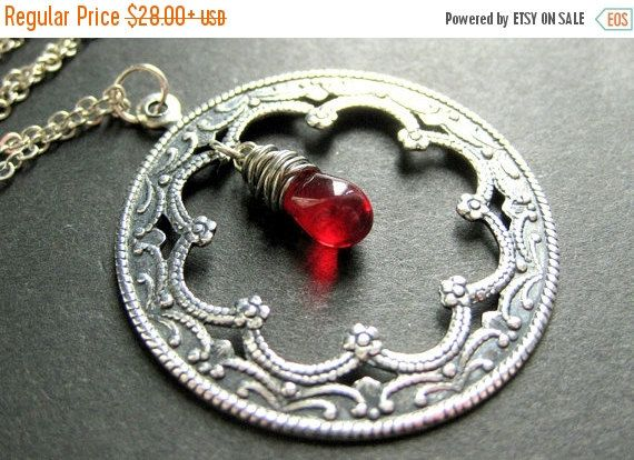 New to StumblingOnSainthood on Etsy: VALENTINE SALE Filigree Necklace. Framed Teardrop Necklace. Silver Charm Necklace with Wire Wrapped Glass Teardrop. Handmade Jewelry. (25.20 USD)