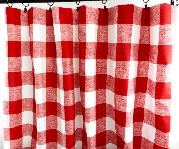 Red Curtains. Red Checks Curtains. County Red and white Panels ...