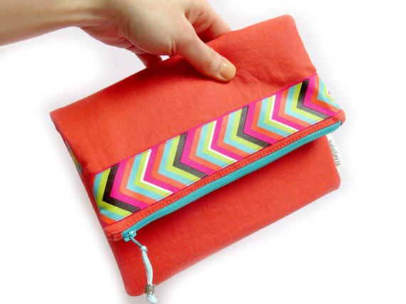 Fold Over Clutch Purse - Orange Coral Arrow Ribbon / foldover clutch / gift for her / foldover bag / evening clutch / iphone clutch