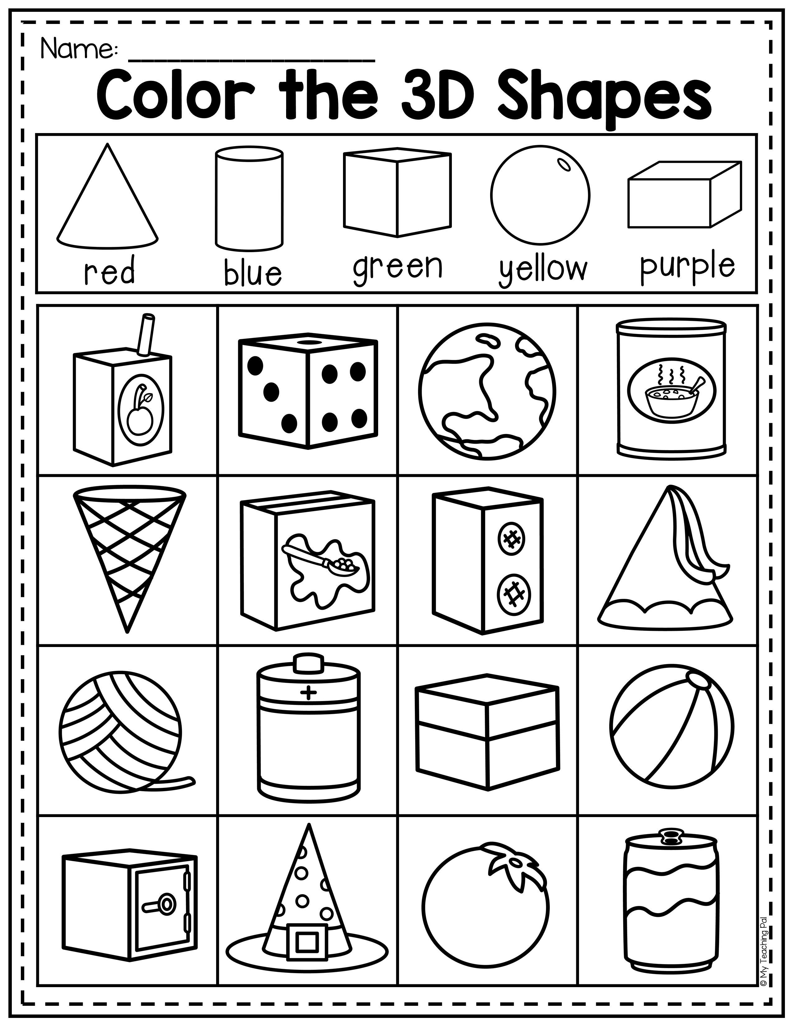 3D Real World Shapes Worksheet   Shapes worksheets [ 3300 x 2550 Pixel ]