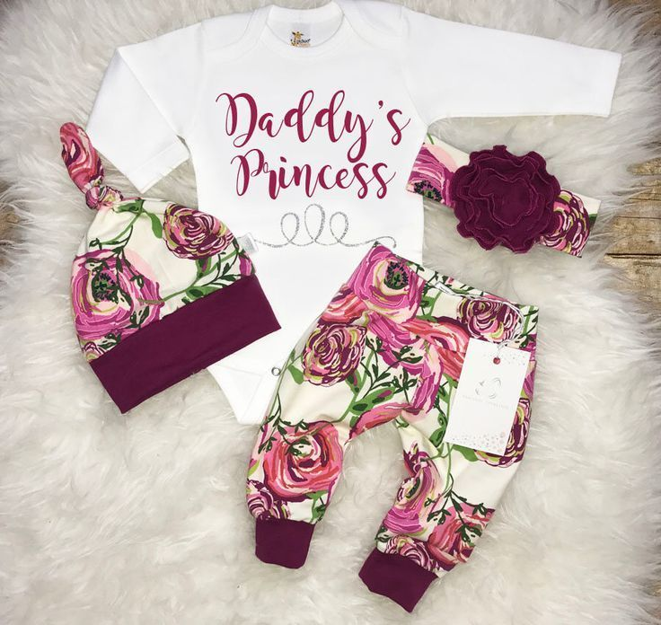 Baby Girl Coming Home Outfit Newborn Girl Outfit Daddy's Princess Outfit Baby Sh...  - Nähen -