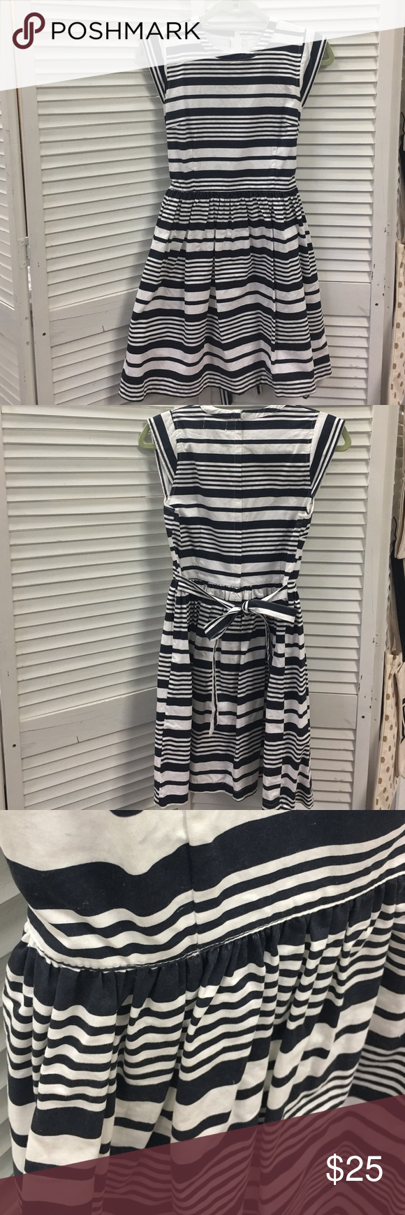 """Freeway Navy Striped Dress Purchased from Modcloth the brand is freeway. I believe it's the Jonah Dress. Navy and white stripes, zipper up the back. Cap sleeves. Waist tie can be tied front or back. I noticed there are a few very faint blue smudges on the white. You can see in last pic. It must have came like that, was only worn once. Laying flat: Bust 18"""" Waist 15"""". Will fit small or medium. ModCloth Dresses"""
