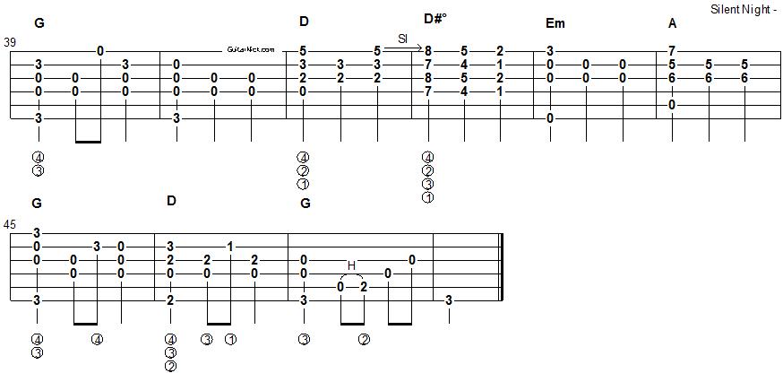 Silent Night Christmas Song Guitar Tablature Part 2 Randomness