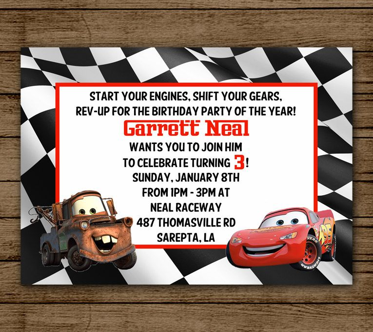 Cars Birthday Party Invitation Lightening McQueen Tow Mater – Printable Cars Birthday Invitations