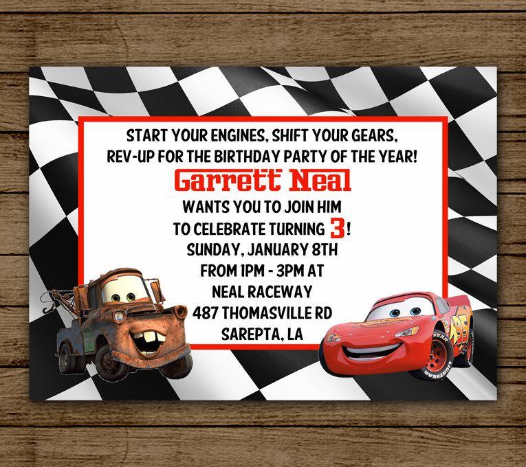 birthday party invitations printable%0A Cars Birthday Party Invitation  Lightening McQueen  Tow Mater  Invite  Boy Birthday  Party