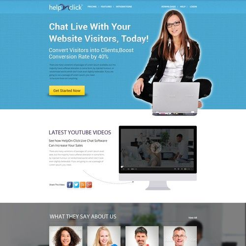 Home page for popular live chat product (mockup available)