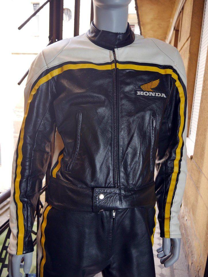 Vintage Honda Leather Motorcycle Racing Jacket Black Yellow Vintage Leather Jacket Jackets Motorcycle Racing Jacket