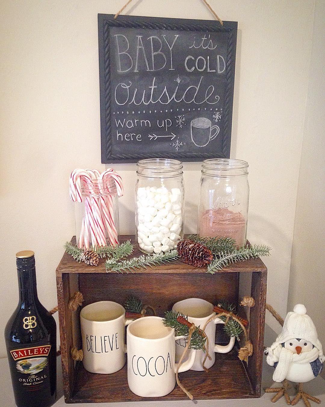 Hot Chocolate Bar Station Rae Dunn Mugs Display Christmas