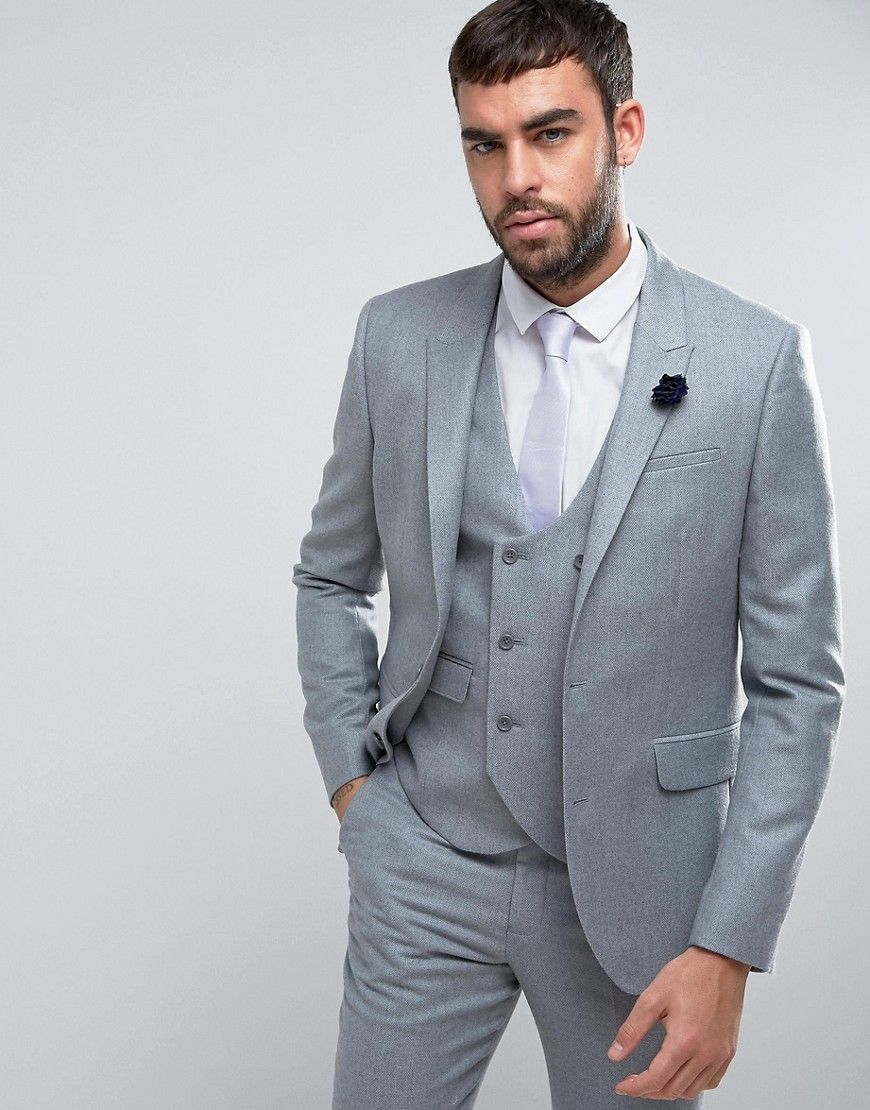 ASOS WEDDING Slim Suit Jacket in Light Gray 100% Merino Wool - Gray ...
