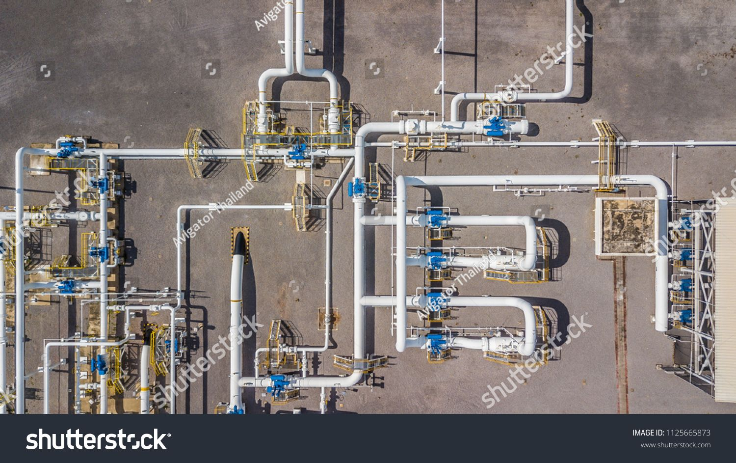 Aerial Top View Natural Gas Pipeline Gas Industry Gas Transport System Stop Valves And Appliances For Gas Pumping Station Gas Pipeline Gas Industry Aerial