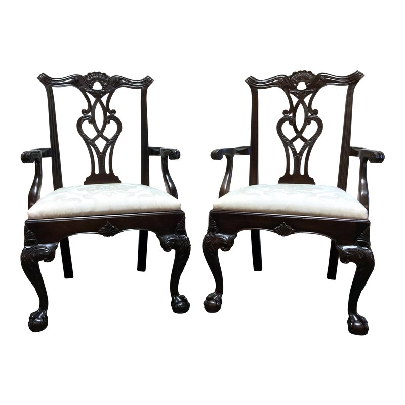 Henredon Rittenhouse Square Mahogany Chippendale Ball In Claw Dining Arm Chairs Pair Chair Dining Chairs Dining Arm Chair